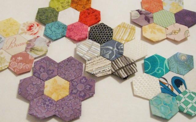 hexagon flowers in various colors