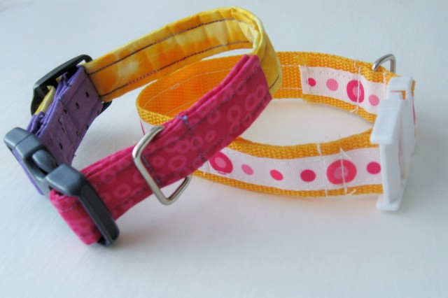 two sewn dog collars