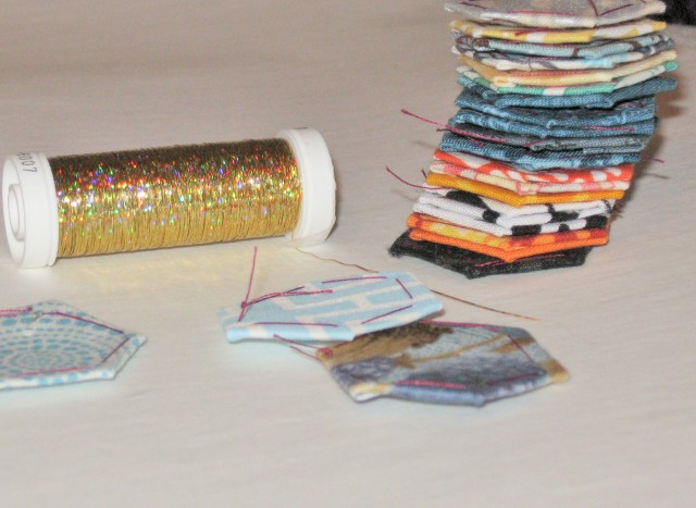 Basted hexagons and Sulky thread
