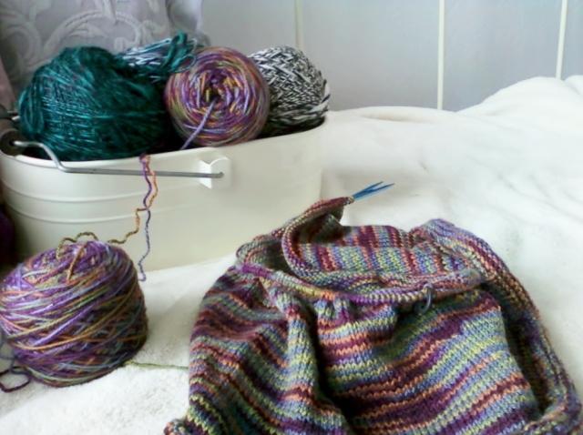 Aleita Shell knit sweater in progress