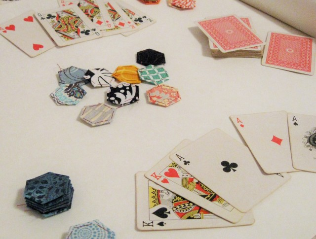 poker game using hexagons as chips
