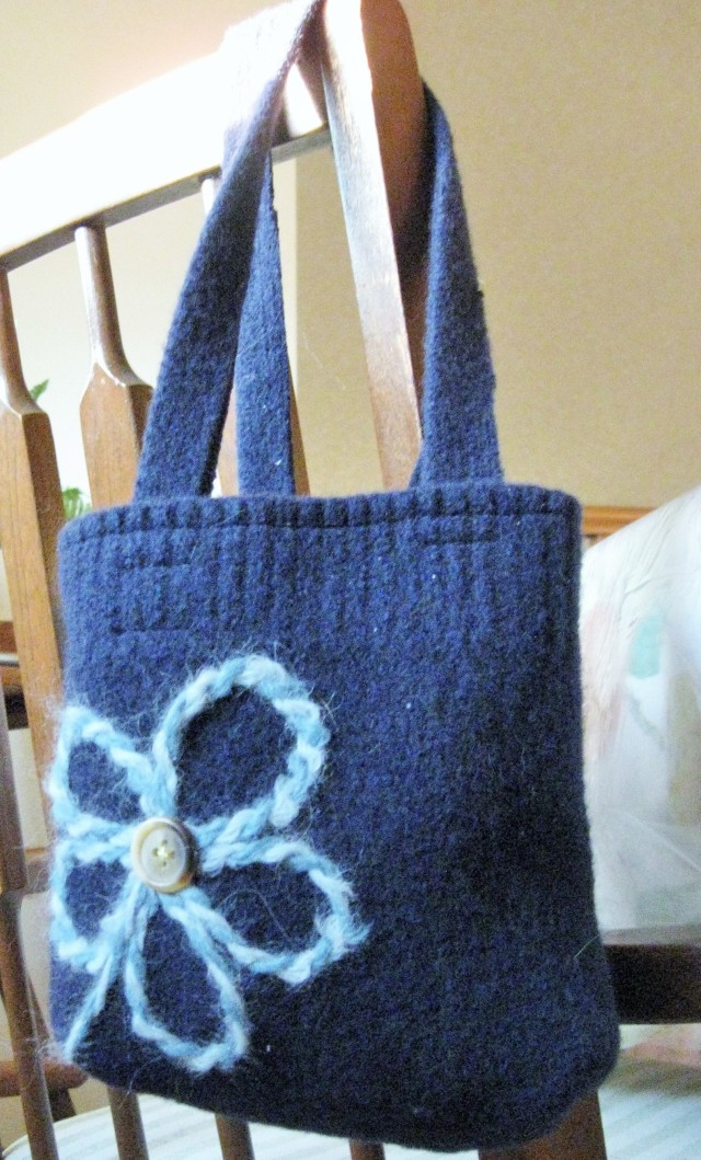 Upcycled sweater tote