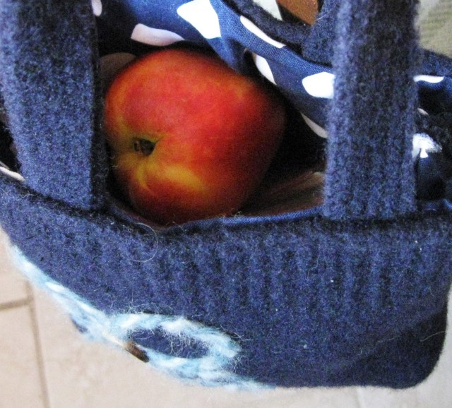 lunch tucked inside an upcycled sweater tote